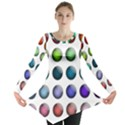 Button Icon About Colorful Shiny Long Sleeve Tunic  View1