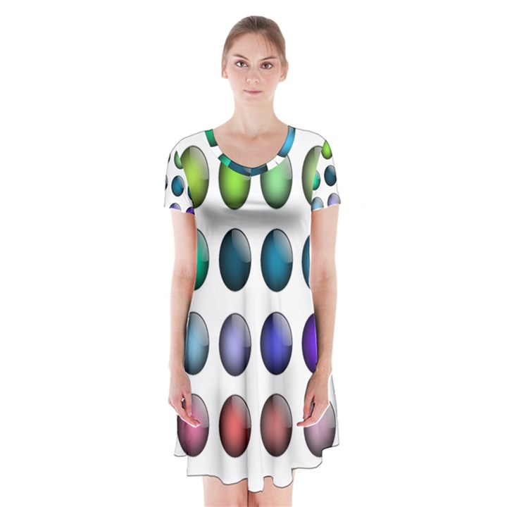 Button Icon About Colorful Shiny Short Sleeve V-neck Flare Dress