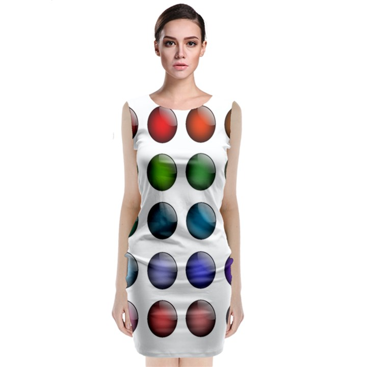 Button Icon About Colorful Shiny Classic Sleeveless Midi Dress