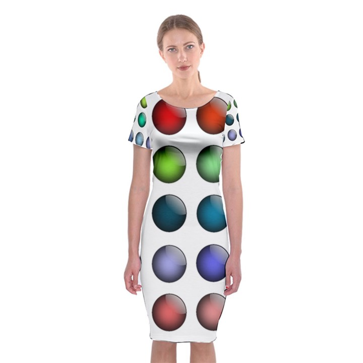 Button Icon About Colorful Shiny Classic Short Sleeve Midi Dress