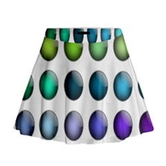 Button Icon About Colorful Shiny Mini Flare Skirt