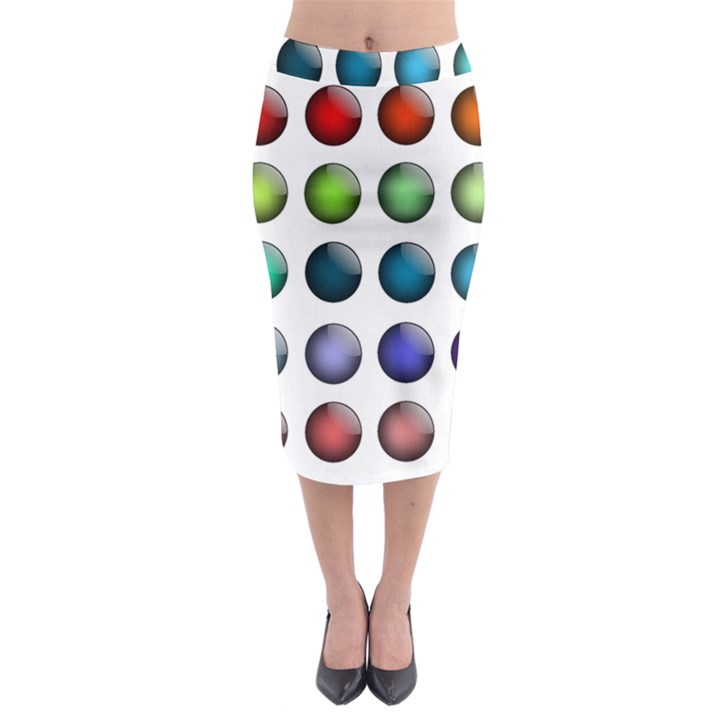 Button Icon About Colorful Shiny Midi Pencil Skirt