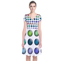 Button Icon About Colorful Shiny Short Sleeve Front Wrap Dress