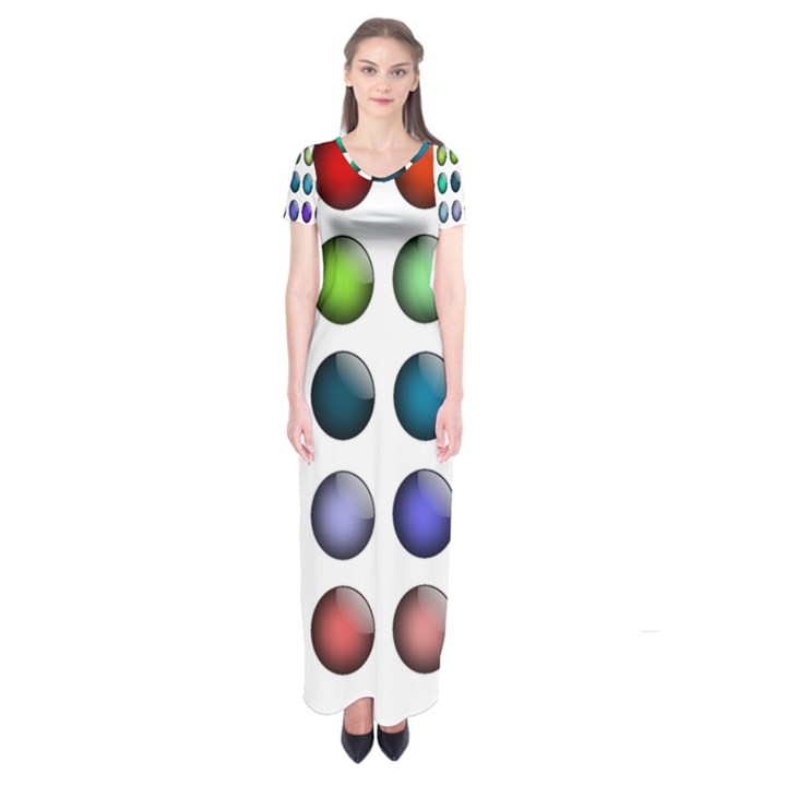 Button Icon About Colorful Shiny Short Sleeve Maxi Dress