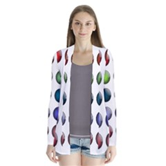 Button Icon About Colorful Shiny Drape Collar Cardigan