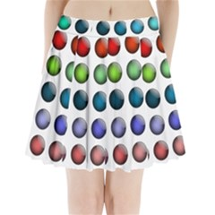 Button Icon About Colorful Shiny Pleated Mini Skirt