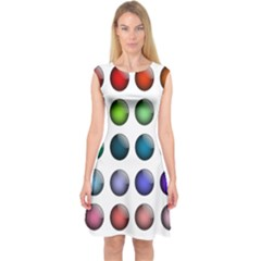 Button Icon About Colorful Shiny Capsleeve Midi Dress