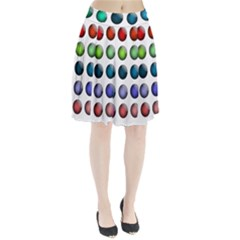 Button Icon About Colorful Shiny Pleated Skirt