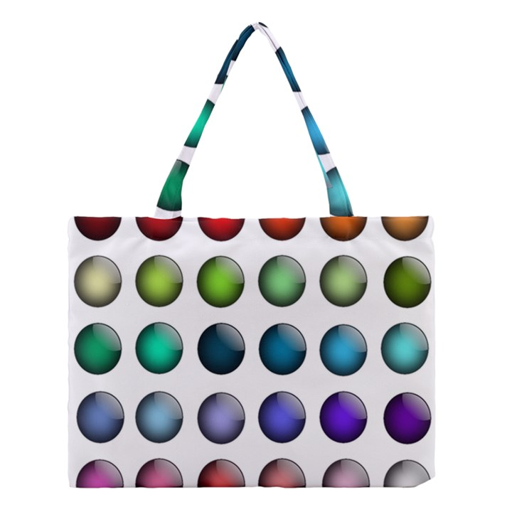 Button Icon About Colorful Shiny Medium Tote Bag