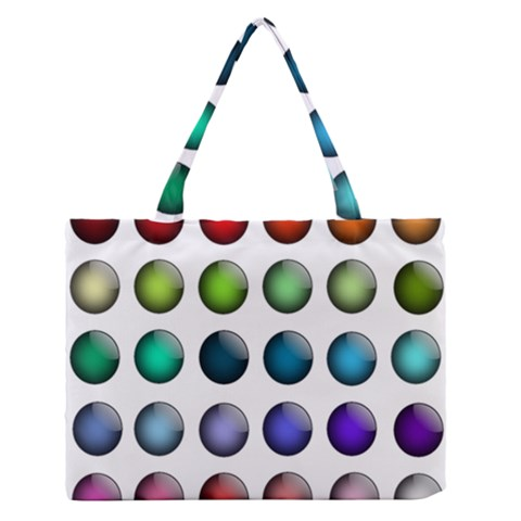 Button Icon About Colorful Shiny Medium Zipper Tote Bag