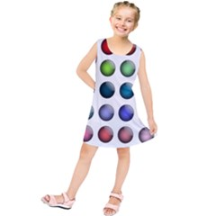 Button Icon About Colorful Shiny Kids  Tunic Dress