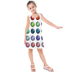 Button Icon About Colorful Shiny Kids  Sleeveless Dress