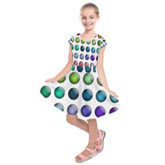 Button Icon About Colorful Shiny Kids  Short Sleeve Dress
