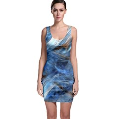 Blue Colorful Abstract Design  Sleeveless Bodycon Dress