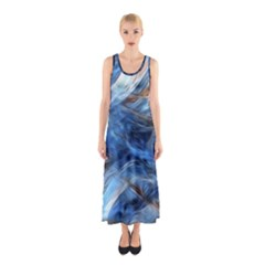 Blue Colorful Abstract Design  Sleeveless Maxi Dress
