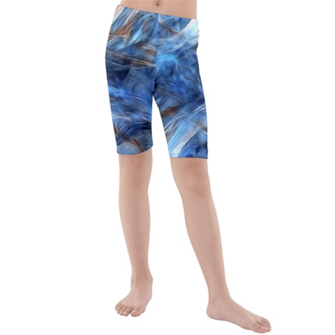 Blue Colorful Abstract Design  Kids  Mid Length Swim Shorts