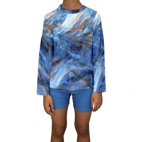 Blue Colorful Abstract Design  Kids  Long Sleeve Swimwear