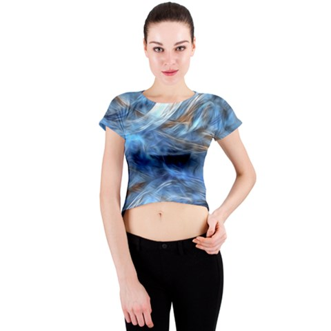 Blue Colorful Abstract Design  Crew Neck Crop Top