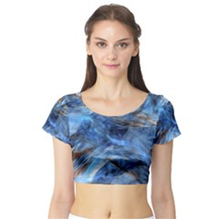 Blue Colorful Abstract Design  Short Sleeve Crop Top (tight Fit)