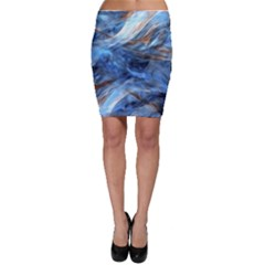Blue Colorful Abstract Design  Bodycon Skirt