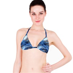 Blue Colorful Abstract Design  Bikini Top