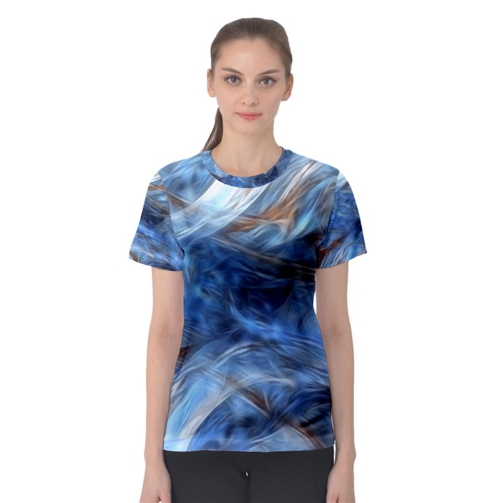 Blue Colorful Abstract Design  Women s Sport Mesh Tee
