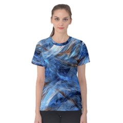 Blue Colorful Abstract Design  Women s Cotton Tee