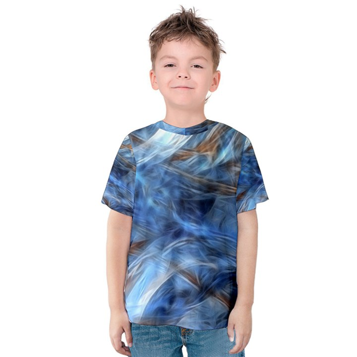Blue Colorful Abstract Design  Kids  Cotton Tee