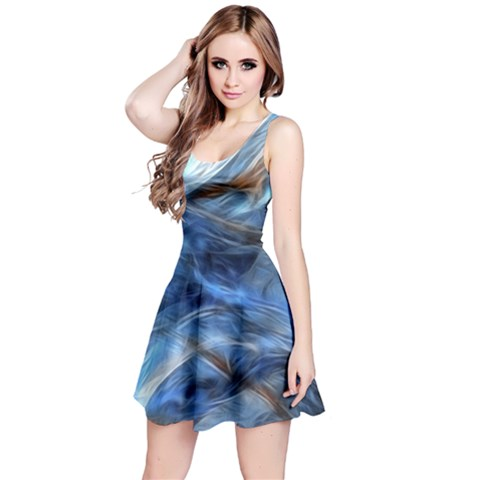 Blue Colorful Abstract Design  Reversible Sleeveless Dress