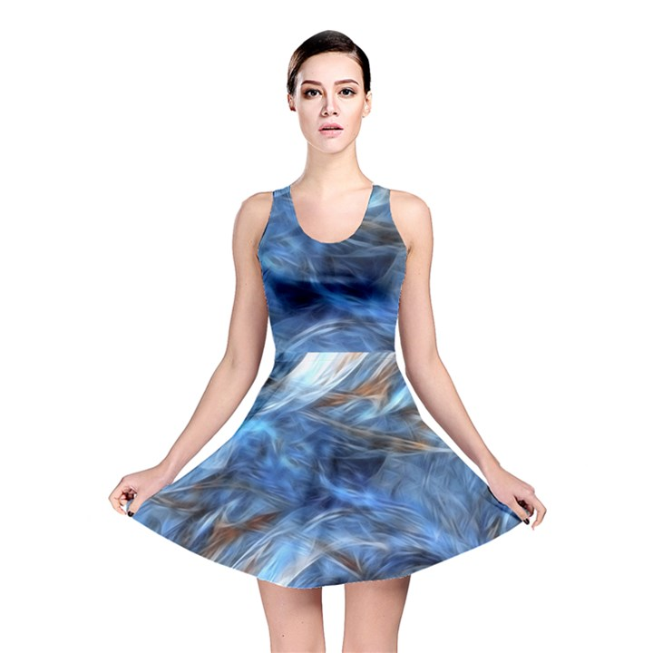Blue Colorful Abstract Design  Reversible Skater Dress