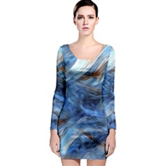Blue Colorful Abstract Design  Long Sleeve Bodycon Dress