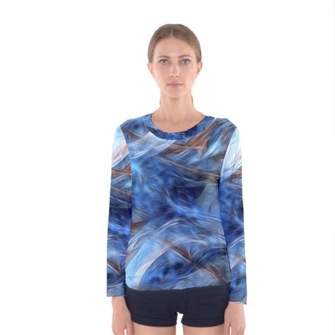 Blue Colorful Abstract Design  Women s Long Sleeve Tee