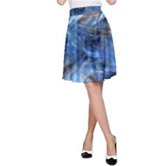 Blue Colorful Abstract Design  A Line Skirt
