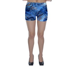 Blue Colorful Abstract Design  Skinny Shorts