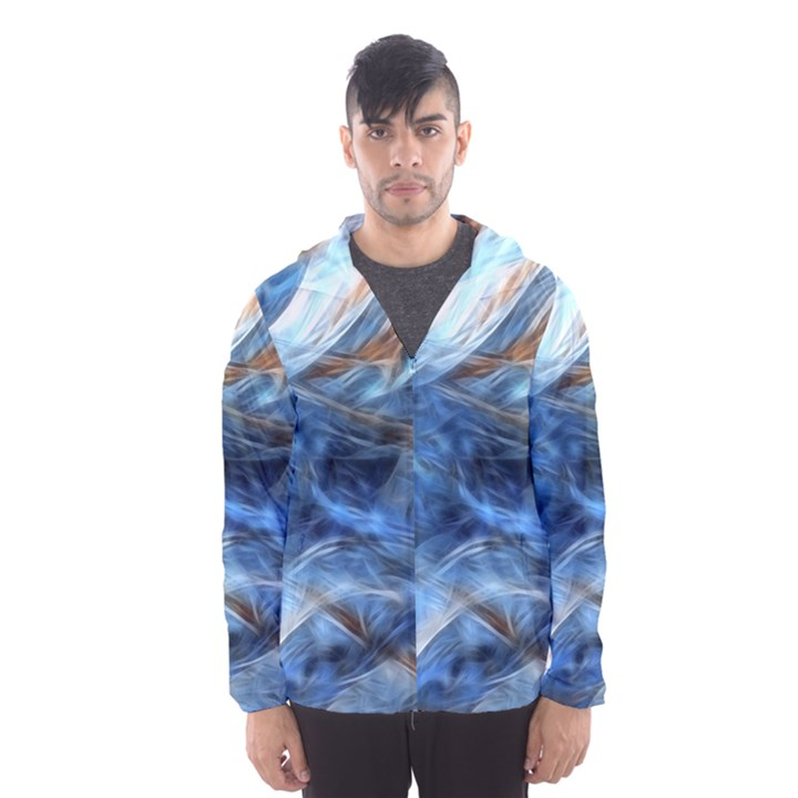 Blue Colorful Abstract Design  Hooded Wind Breaker (Men)