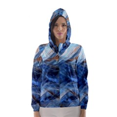 Blue Colorful Abstract Design  Hooded Wind Breaker (Women)