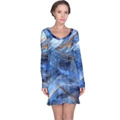 Blue Colorful Abstract Design  Long Sleeve Nightdress