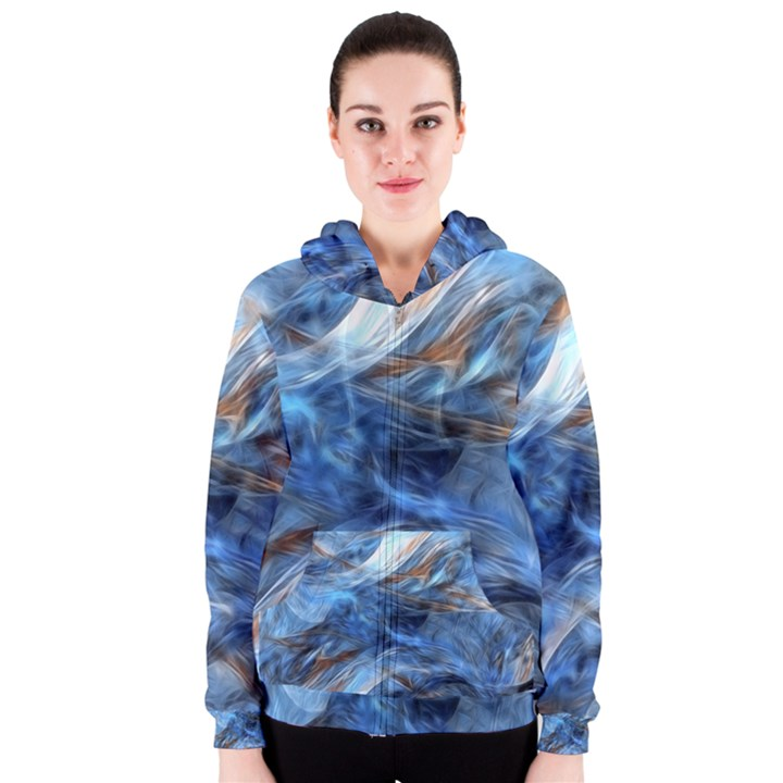 Blue Colorful Abstract Design  Women s Zipper Hoodie