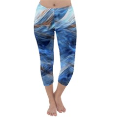 Blue Colorful Abstract Design  Capri Winter Leggings