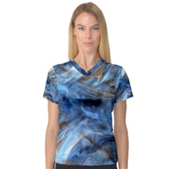 Blue Colorful Abstract Design  Women s V Neck Sport Mesh Tee