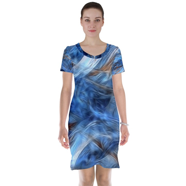 Blue Colorful Abstract Design  Short Sleeve Nightdress