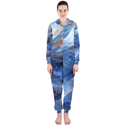 Blue Colorful Abstract Design  Hooded Jumpsuit (Ladies)