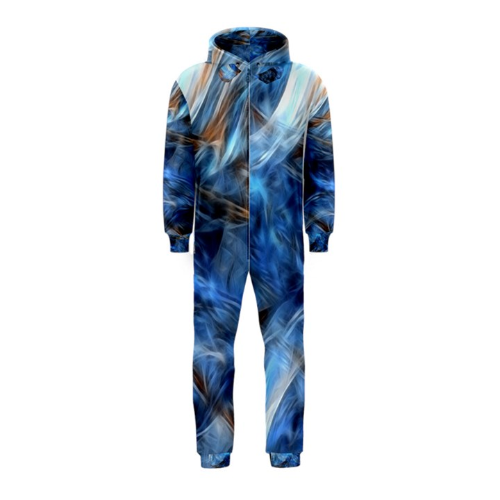 Blue Colorful Abstract Design  Hooded Jumpsuit (Kids)