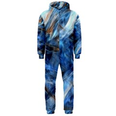 Blue Colorful Abstract Design  Hooded Jumpsuit (men)
