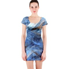 Blue Colorful Abstract Design  Short Sleeve Bodycon Dress