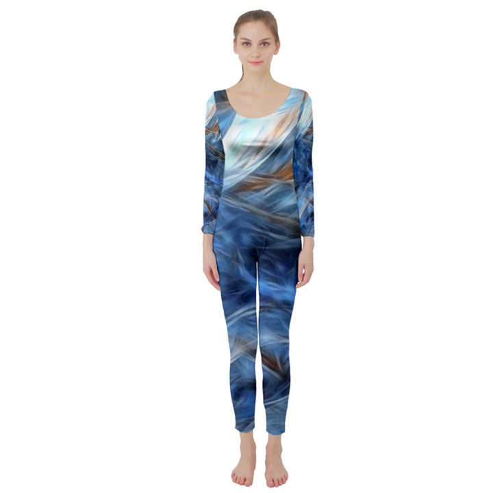 Blue Colorful Abstract Design  Long Sleeve Catsuit