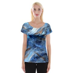 Blue Colorful Abstract Design  Women s Cap Sleeve Top