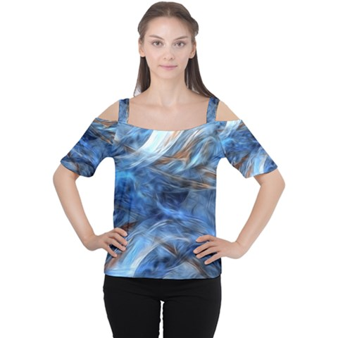 Blue Colorful Abstract Design  Women s Cutout Shoulder Tee
