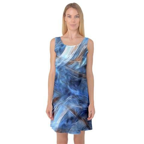 Blue Colorful Abstract Design  Sleeveless Satin Nightdress