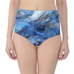 Blue Colorful Abstract Design  High-Waist Bikini Bottoms